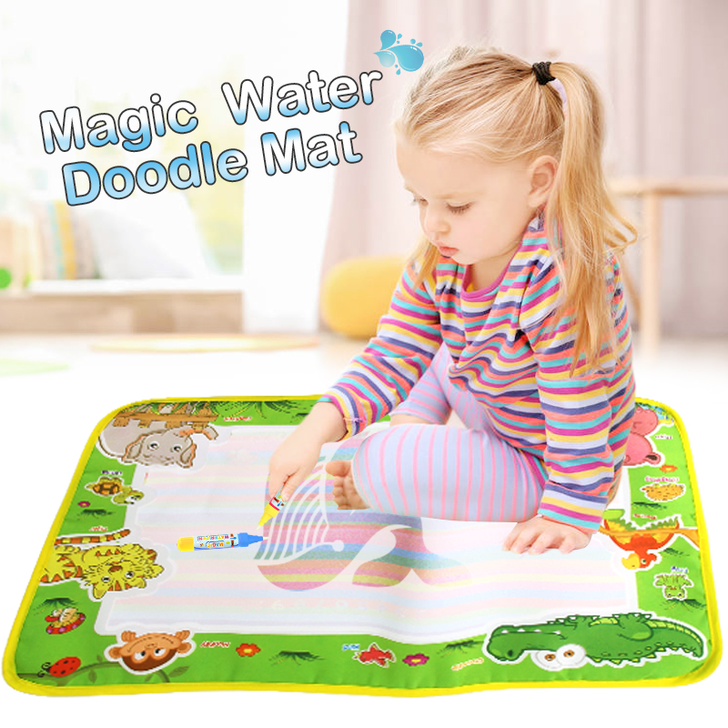 50*36cm Water Doodle Mat Drawing Book & 2 Magic Pens Animals Theme Learning Educational Painting Board Toys For Kids Xmas Gift