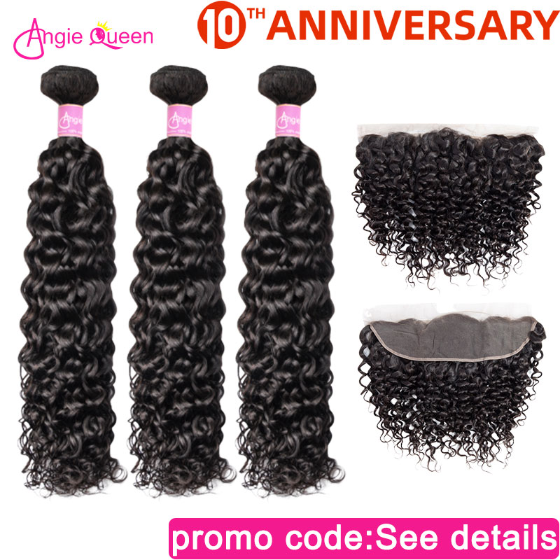 Angie Queen Water Wave Indian Non Remy Hair Natural Color Hair Bundles With Frontal Lace Frontal With 3 Bundles Human Hair L