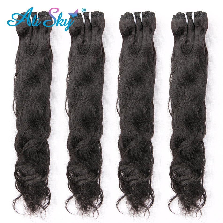 Ali Sky Hair 3 Bundles Peruvian Natural Wave Mixed Length 8 30inch black color No Shedding No Tangle Remy freeshippping-in 3/4 Bundles from Hair Extensions & Wigs