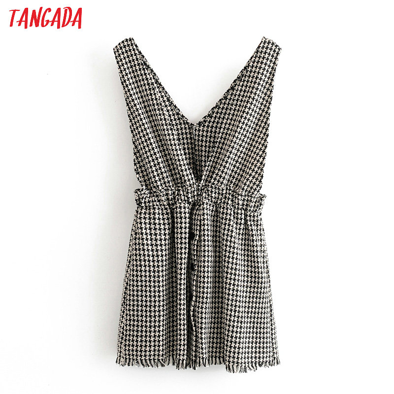 Tangada Women Retro Plaid Pattern Dress Sleeveless Pocket Stretch Waist Buttons Female Casual Chic Dresses 3H240
