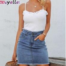 цена Sexy Pencil Denim Women Skirt Tassel High Waist Bodycon Mini Skirt Female Casual Streetwear Summer Blue Ladies Jeans Skirts 2019