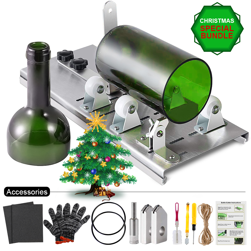 10pcs/set Glass Bottle Cutter Wine Beer DIY Machine For Cutting Whiskey Alcohol Champagne Craft Gloves Glasses Tool Kit