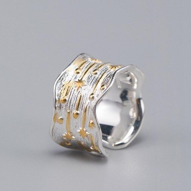 Flyleaf Ins Style large Surface météore douche or réel 925 Sterling argent anneaux pour femmes bijoux fins anneau ouvert de haute qualité