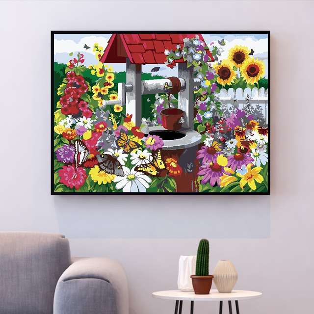 Painting By Numbers Wild Flowers Well Garden Bright Colours