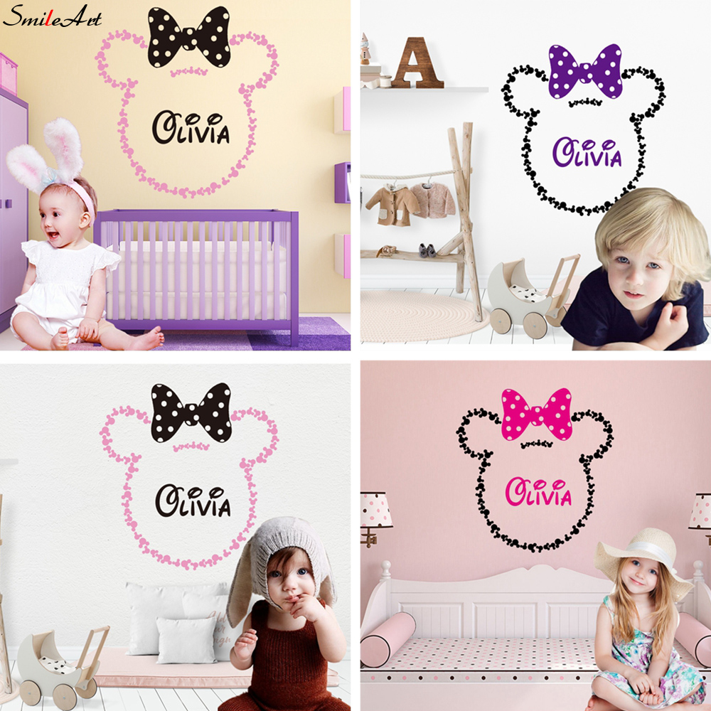 2020NEW Wall Sticker Personalised MINNIE STICKERS Custom Name Mickey Girls Bedroom Vinyl Wall Decals For Kids Room Wallpaper