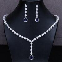 SISCATHY NEW Famous Brand Bbrilliant Crystal Zircon Drop Earrings necklaces Bridal jewelry Set Women Wedding Dress Accessories