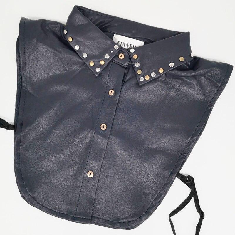 Rivet Faux Leather Fake Collar Plus Size XL Detachable Collar Cols Women Accessories False Nep Kraagje Tie Lapel Half Shirt