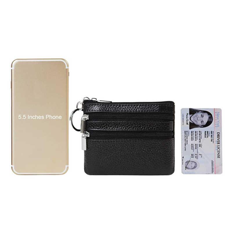 Luxe Lederen Portemonnee Mini Koe Lederen 3 Zip Portemonnee 4 Pocket Pouch Met Key Ring Voor Vrouwen