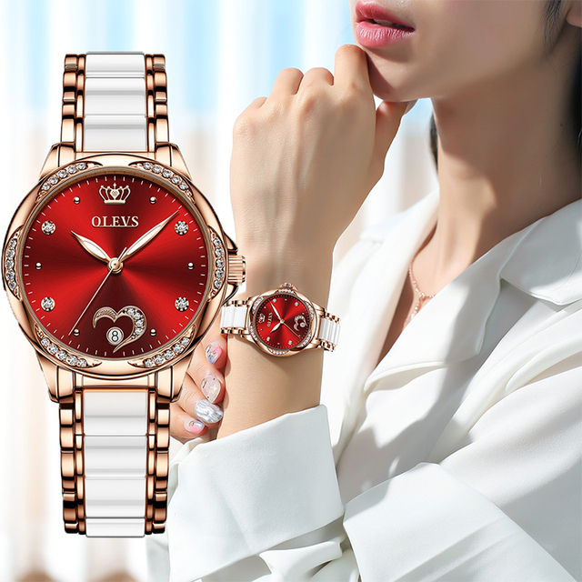 OLEVS Women watch Set Waterproof Automatic Mechanical watch Female Ceramic watch Gift for Women Wristwatches 1