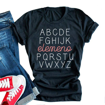 Abcdefghijk Element Pqrstuvwxyz Womens Funny Teacher Letter Printed T-Shirt Casual Summer Graphic Tee Tops 100% Cotton T Shirt letter embroidery t shirt