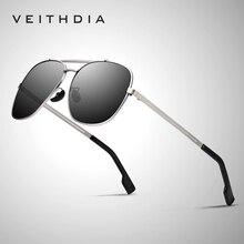VEITHDIA Brand Mens Vintage Sun Glasses Stainless Steel Sunglasses Square Polarized UV400 Lens Male Eyewear Accessories For Men