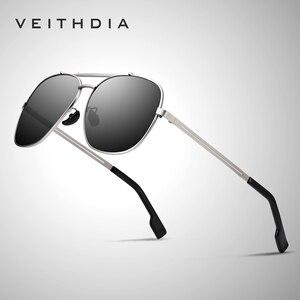 Image 1 - VEITHDIA Marke männer Vintage Sonnenbrille Edelstahl Sonnenbrille Platz Polarisierte UV400 Objektiv Männlichen Brillen Zubehör Für Männer