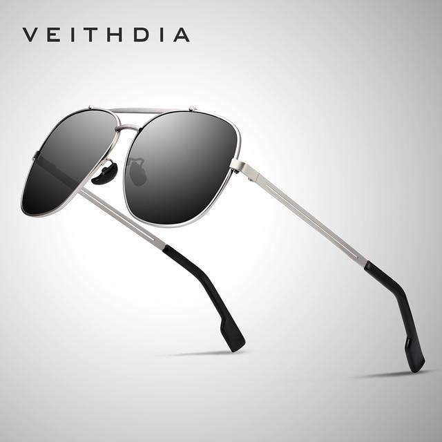 VEITHDIA Marke männer Vintage Sonnenbrille Edelstahl Sonnenbrille Platz Polarisierte UV400 Objektiv Männlichen Brillen Zubehör Für Männer