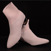 Black pink socks boots Knitted Stretch Women's Ankle Boots 2019 Elegant Pointed Toe Mid Heel Boots Ladies Booties Metal Heel