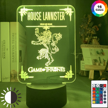 Acrylic Led Night Light Game of Thrones House Lannister Family Emblems for Room Decorative Nightlight Touch Sensor Table Lamp майка print bar game of thrones lannister