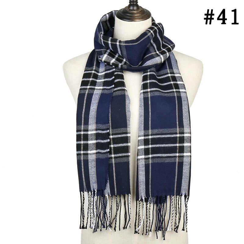 Новинка 2019, женский зимний шарф, мягкие теплые кашемировые шарфы в клетку, женские шали и палантины из пашмины, Дамская бандана Hijabs Echarpe