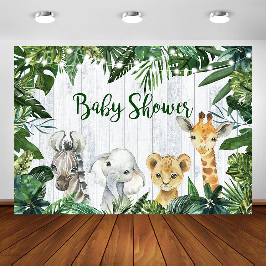 Green Leaves Safari Jungle Animals Baby Shower Birthday Wild One Party Decorations Photography Backdrops Customize Background