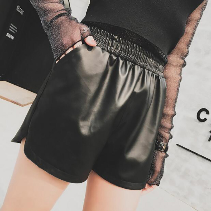 Pu Leather Autumn Winter Shorts High Waist Skinny Big Size Loose Leg Short FASHION Wide-legged Mini Short Trousers