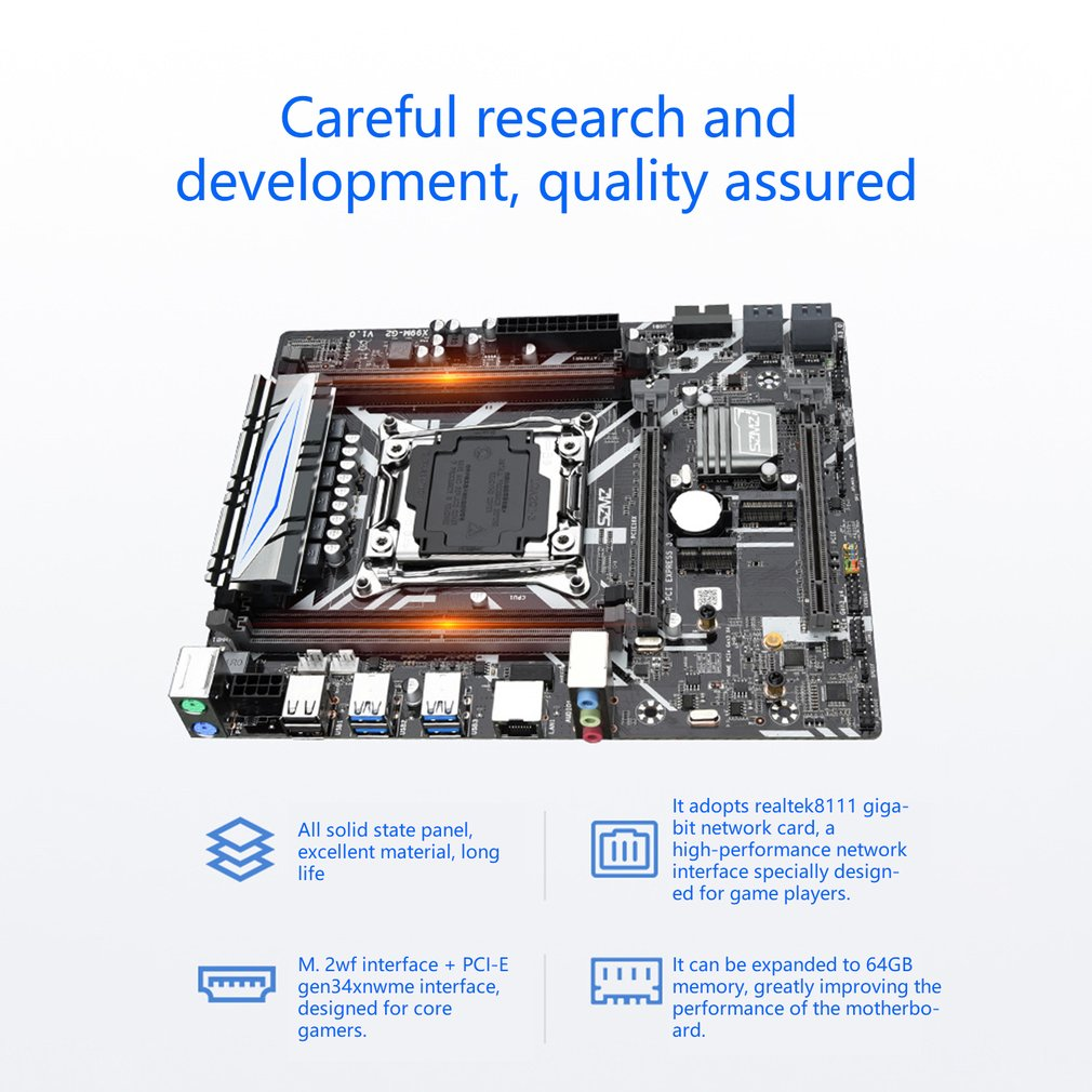 X99M-G2 Motherboard for E5 2620V3 Processor Support PCIE 16X USB 3.0 SATA And DDR4 Memory 4