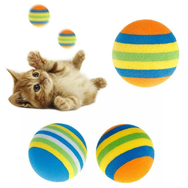 10 Pcs/Set Rainbow Ball Pet Toys EVA Soft Interactive Cat Dog Puppy Kitten Play Funny Colorful Gifts Chew Balls Pets Products 2