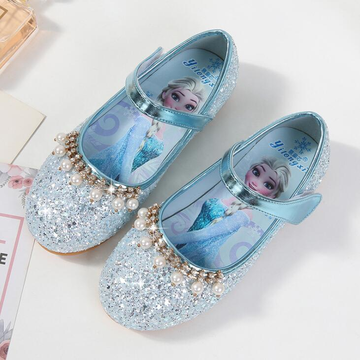 Kids Wedding Dress Leather Shoes Children Elsa Princess Sandals Pink Blue Leather Shoes For Girls Casual Shoes Beach Sandals|  - title=