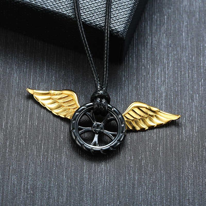 Skrzydło anioła na kole stal nierdzewna mężczyźni naszyjnik wisiorek bohaterowie nigdy nie umierają inspirująca biżuteria