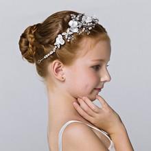 Hair-Band-Accessories Headdress Wedding-Bridesmaid Baby-Girl Bridal-Tiara Kids Pearl