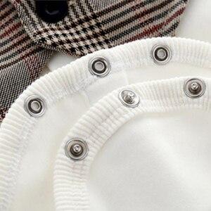 Image 5 - Dziecko Gentleman strój niemowlę dziecko chłopców ślubne formalne odzież zestaw maluch prezent urodzinowy garnitur w kratę koszula spodnie kostium 5 sztuk