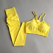 2 pçs sem costura conjunto yoga esporte wear feminino ginásio workout roupas de fitness feminino esporte terno cintura alta legging sutiã esportivo treino