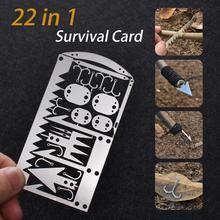 Карточка из нержавеющей стали, Универсальный Карманный инструмент 22 в 1 для выживания, кемпинга, пешего туризма, рыбалки, охоты