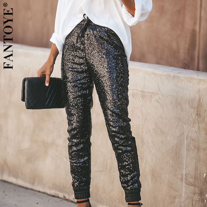 FANTOYE Fashion Sequin Women's Pants Streetwear Casual High Waist Long Pencil Pants Female Spring Elastic Trousers Clubwear 2020
