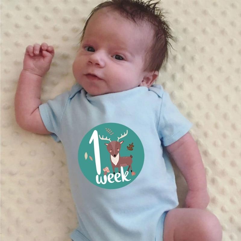 12 шт наклейка на месяц Детская фотография карта для новорожденных