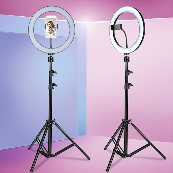 6,3 ''/10,2'' студийный кольцевой светильник для камеры видео светодиодный светильник для красоты кольцевой светильник для фотографии с регулируемой яркостью кольцевая лампа + Штатив для селфи/шоу в реальном времени|Фотографическое освещение|   | АлиЭкспресс - 11/11 AliExpress