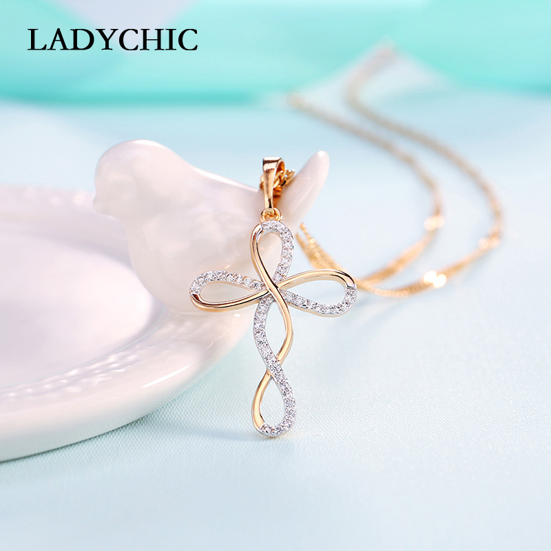 Elegance Gold Color Cross Pendant Necklaces for Women Men Trendy Classic Christian Jesus Crystal Necklace Jewelry Gift Wholesale 2