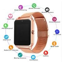 Moda masculina mulher gt08plus pulseira de metal relógio inteligente z60 bluetooth relógio de pulso smartwatch suporte sim tf cartão android & ios relógio pk q8 q9 Relógios inteligentes     -