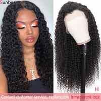Peluca de encaje rizado profundo peruano Sunber pre-desplumado 10-24 ''13x4/6 150/180% pelucas de pelo humano de alta densidad de encaje Remy para mujeres