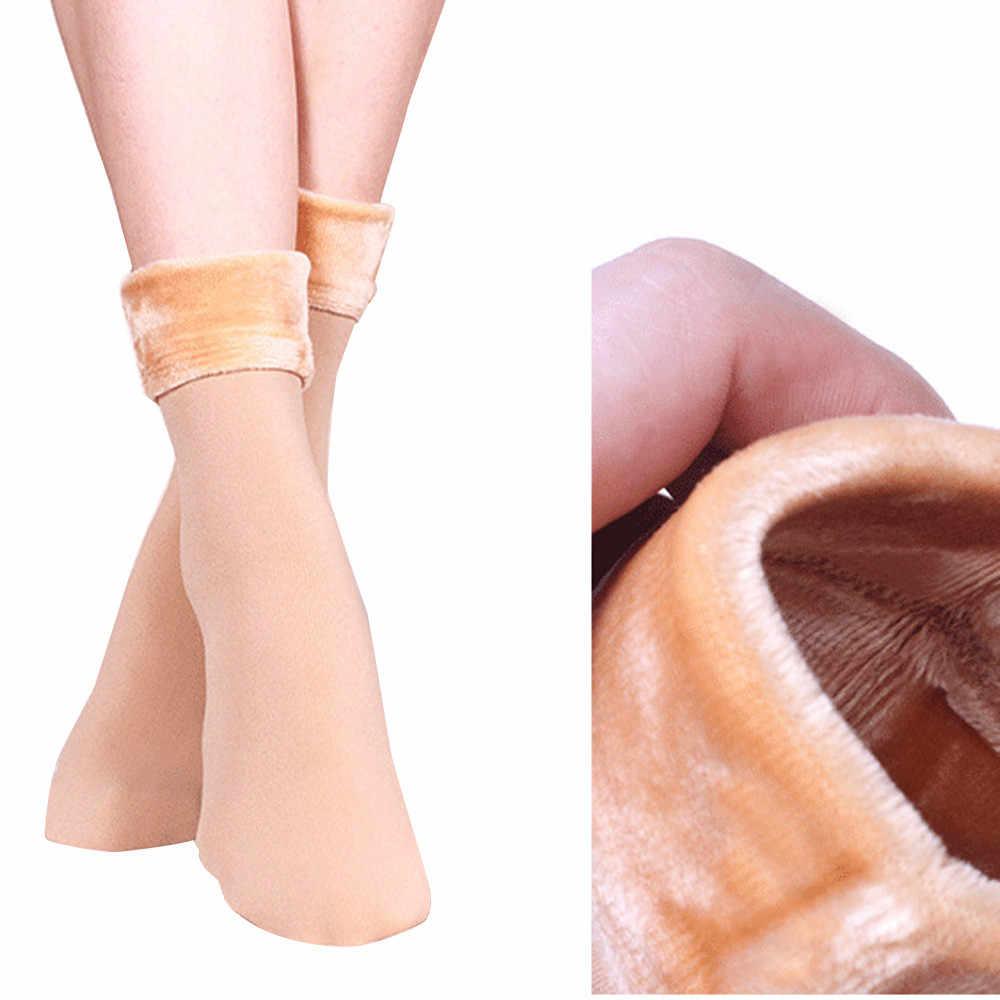 2019 sıcak kış isıtıcı kadınlar kalınlaşmak termal yün kaşmir kar çorap dikişsiz kadife çizmeler kat uyku bayanlar için çorap