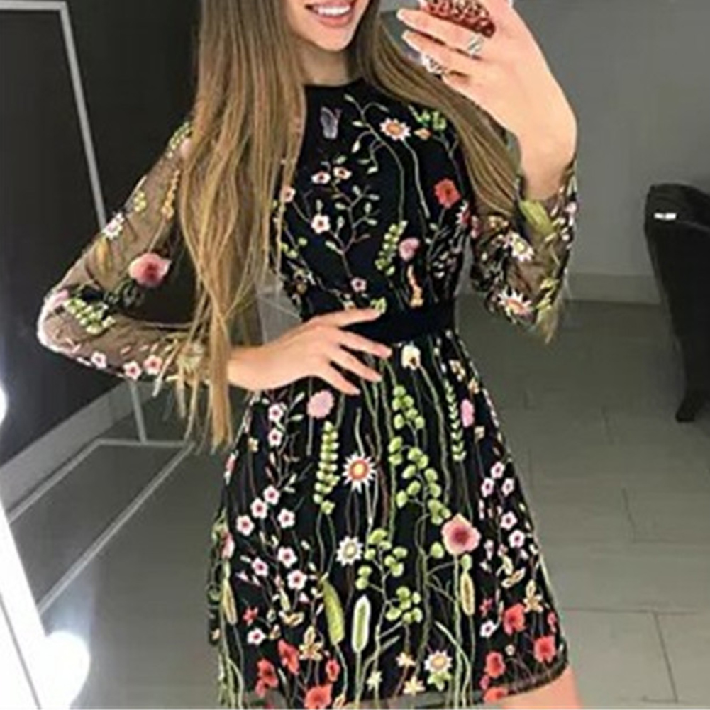 2019 Women Vintage Floral Embroidery Sheer Mesh Dress Summer Boho Mini Dress See-through Black Dress 2019 Vestidos De Festa 5
