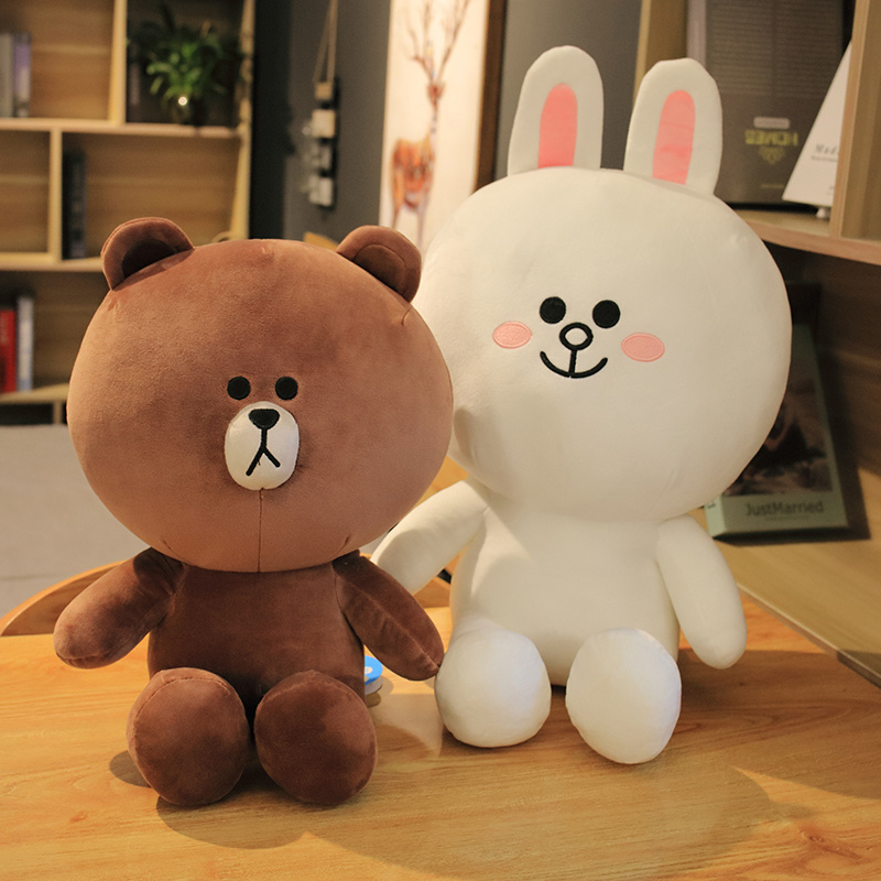 Brown Bear And Cony Rabbit Plush Toy Brown Pillow Toy Lovely Cartoon Doll For Girlfriend Birthday And Gift For Children Present