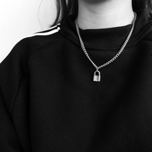 Korea Women Jewelry Silver Color PadLock Pendant Necklace Brand New hip hop Stainless Steel Rolo Cable Chain Friendship