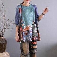 Женские трикотажные изделия в стиле ретро с принтом, большие размеры, футболки, топы, пуловеры, Женская винтажная трикотажная рубашка с принтом, женская рубашка, футболка