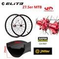 ELITEWHEELS 27 5 er Углеродные колеса для горного велосипеда 650B Углеродные MTB колеса 35 мм ширина 25 мм Глубина с Powerway M42 красная ступица