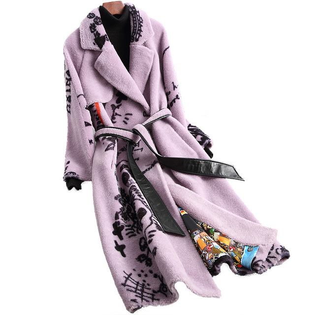 Elegant Winter Long Woolen Warm Real Fur Plus Size Coat Printing Thick Turn down Collar Slim Jackets High Quality Lilac Outwear