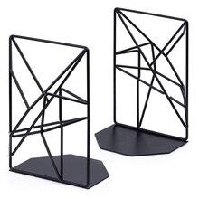 Новинка черные закладки, декоративные металлические книжные концы для полок, уникальный геометрический дизайн для полок, кухонных поваренных книг, декоратов