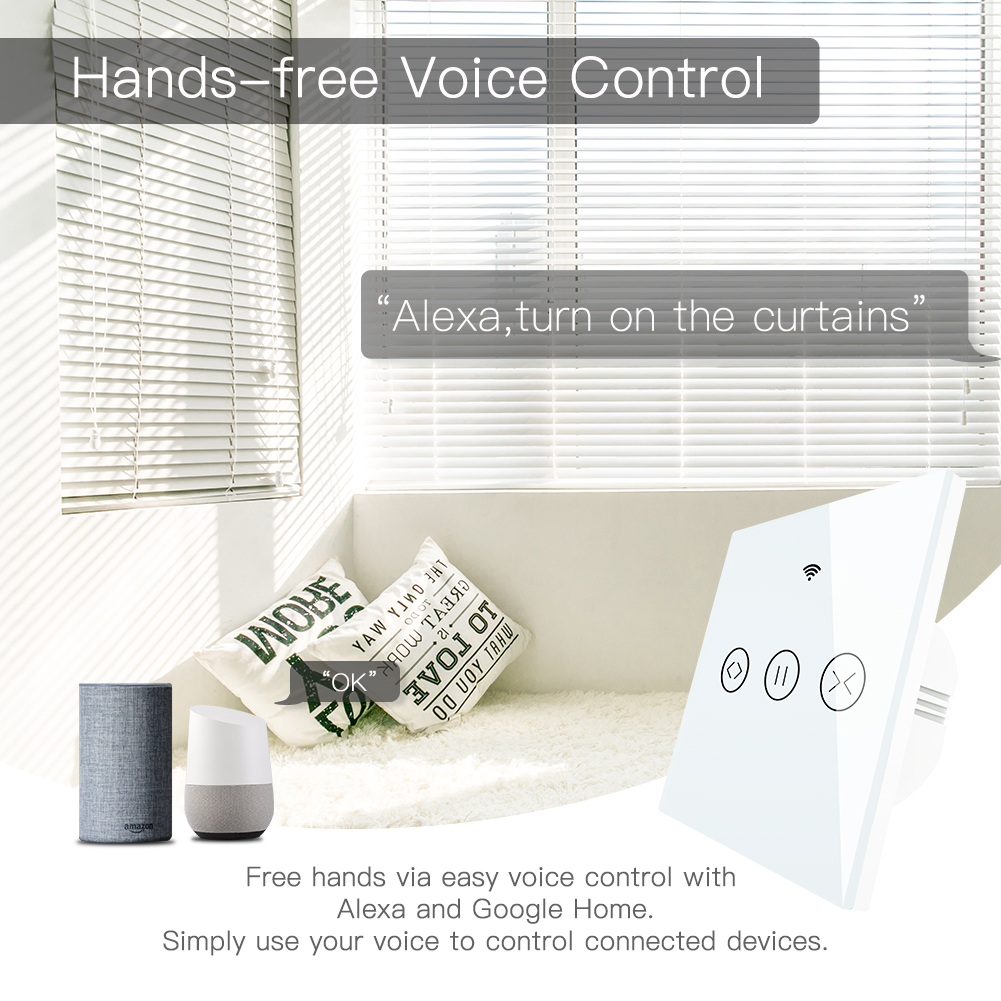 RF WiFi Smart Touch Curtain Blinds Roller Shutter Switch Tuya Smart Life App Remote Control,Work with Alexa Echo Google Home 5