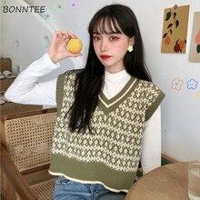 Chaleco de suéter de mujer cuello en V geométrica Argyle sin mangas de punto suéters de estilo coreano femenino nuevo otoño Vintage Ulzzang