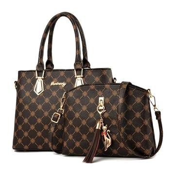 Vintage Womens Luxury Bag High Capacity Purses and Handbags Composite 2pieces/set for Women 2020