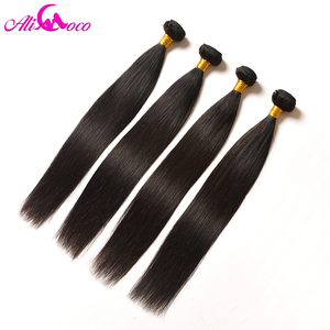 Image 4 - Ali Coco Brazilian Straight Hair 4 Bundles 100% Human Hair 8 28 inch Brazilian Hair Weave Bundles Non Remy Hair Extensions