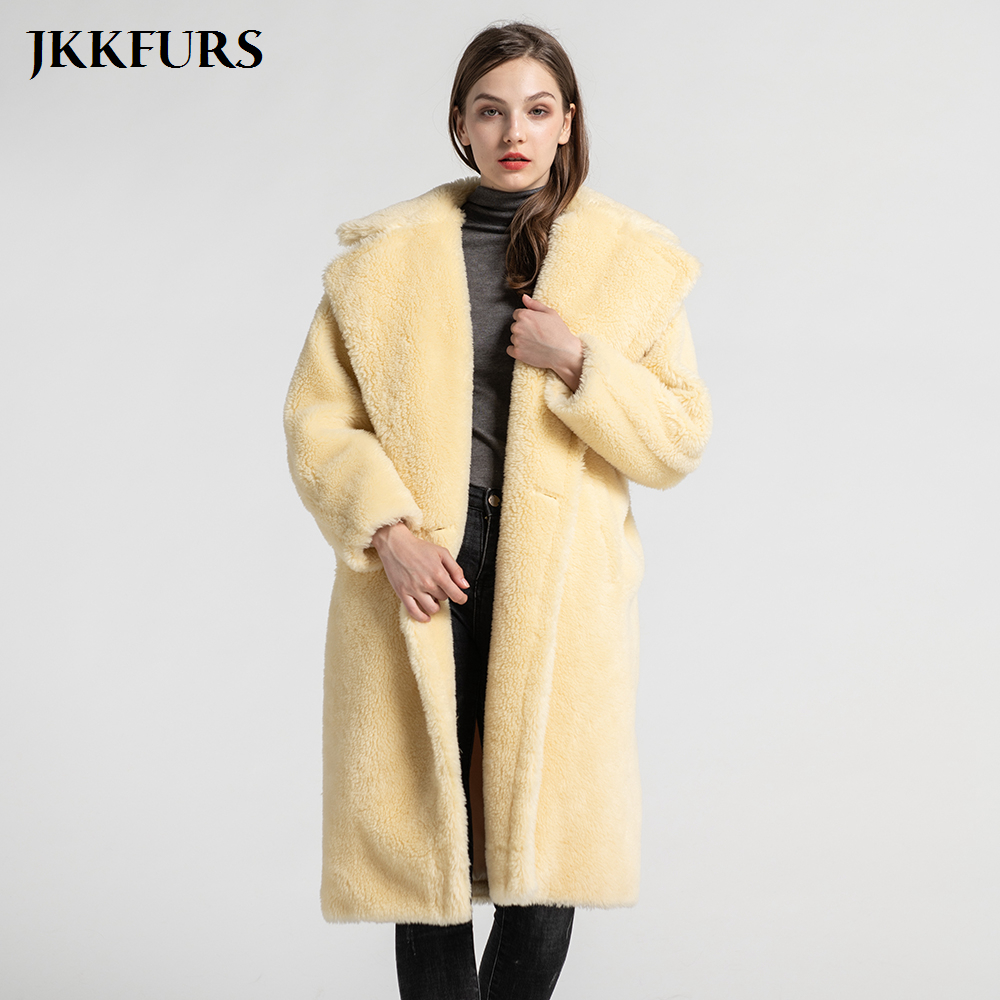 New Teddy Coat Short & Long Style Women's Teddy Bear Jacket Lapel Real Wool Outwear Female Sheep Fur S7480B