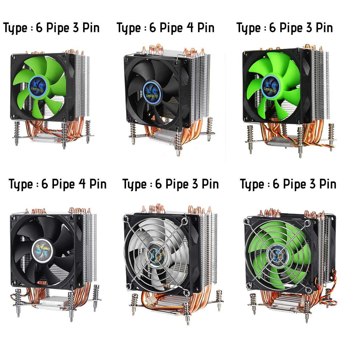 6 Heatpipes CPU Cooler Heatsink Fan Cooling 3pin/4pin Quiet Fan Cooler for LGA 1150/1151/1155/1156/1366/2011/X79/X99/299